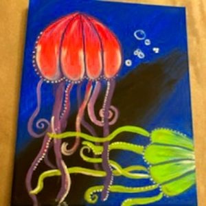 8 x 10 Painting of Jellyfishes